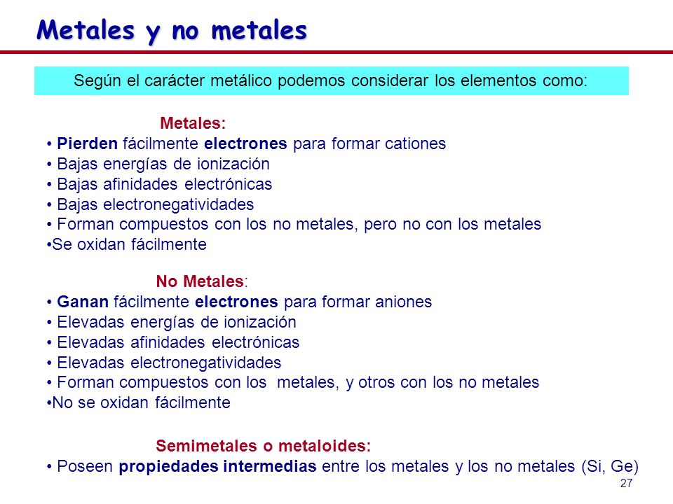 Según el carácter metálico podemos considerar los elementos como: