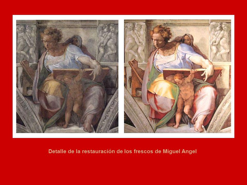 Detalle de la restauración de los frescos de Miguel Angel