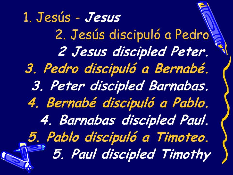 1. Jesús - Jesus2. Jesús discipuló a Pedro. 2 Jesus discipled Peter. 3. Pedro discipuló a Bernabé. 3. Peter discipled Barnabas.