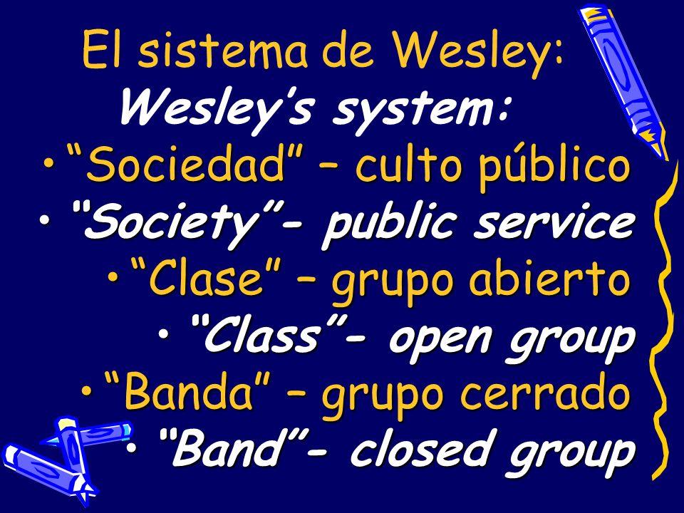 El sistema de Wesley:Wesley's system: Sociedad – culto público. Society - public service. Clase – grupo abierto.
