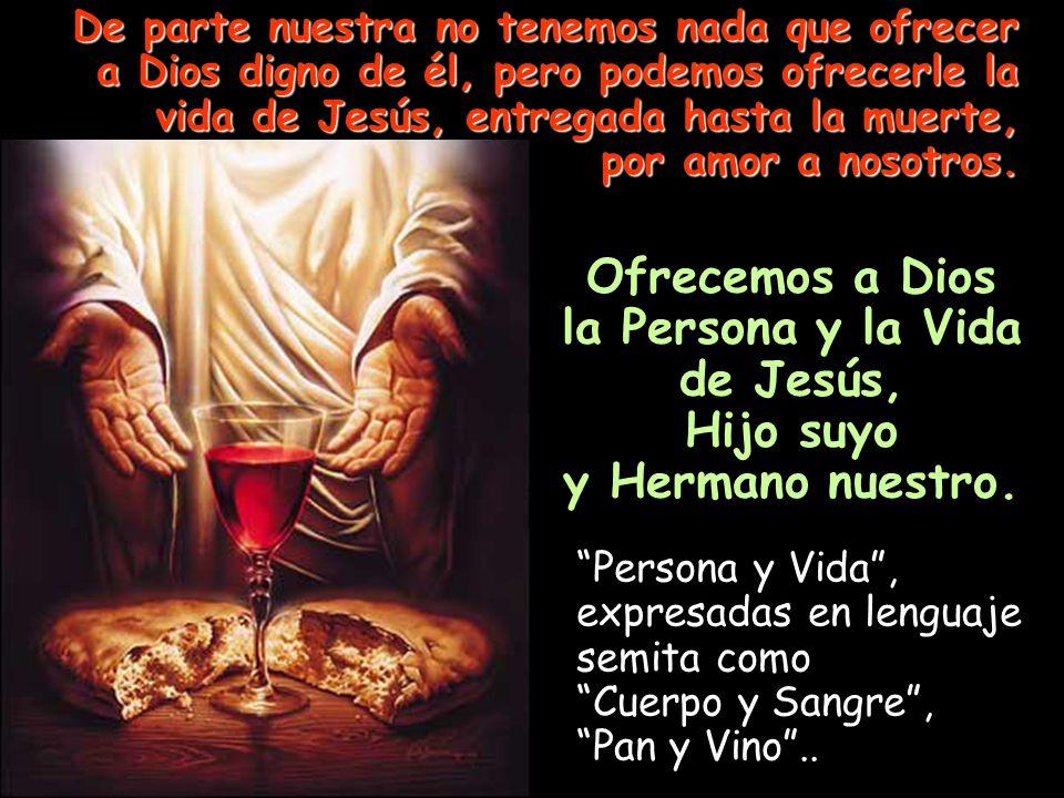 Ofrecemos a Dios la Persona y la Vida de Jesús, Hijo suyo