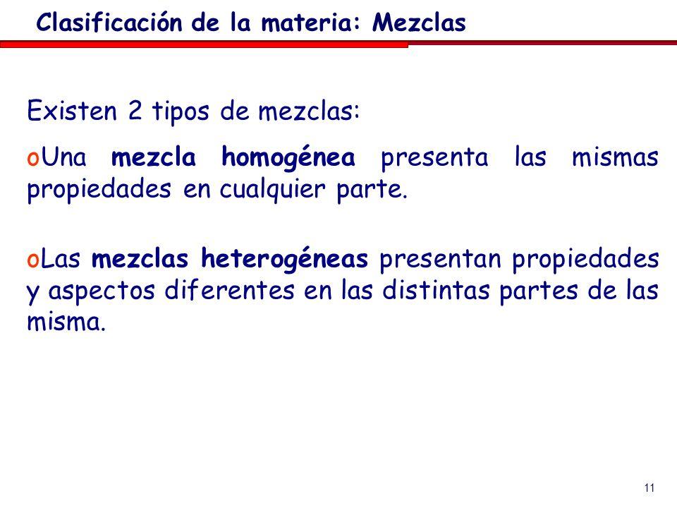 Clasificación de la materia: Mezclas