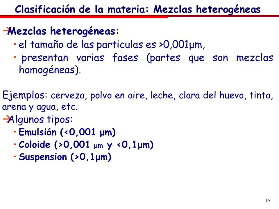 Clasificación de la materia: Mezclas heterogéneas