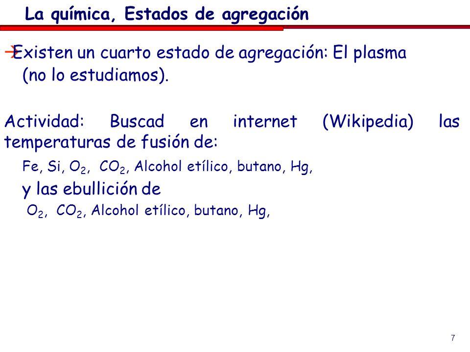 La química, Estados de agregación