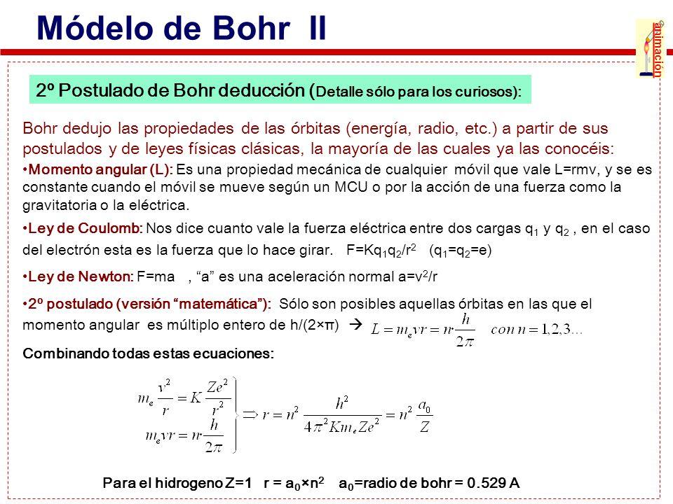 Módelo de Bohr II animación. 2º Postulado de Bohr deducción (Detalle sólo para los curiosos):