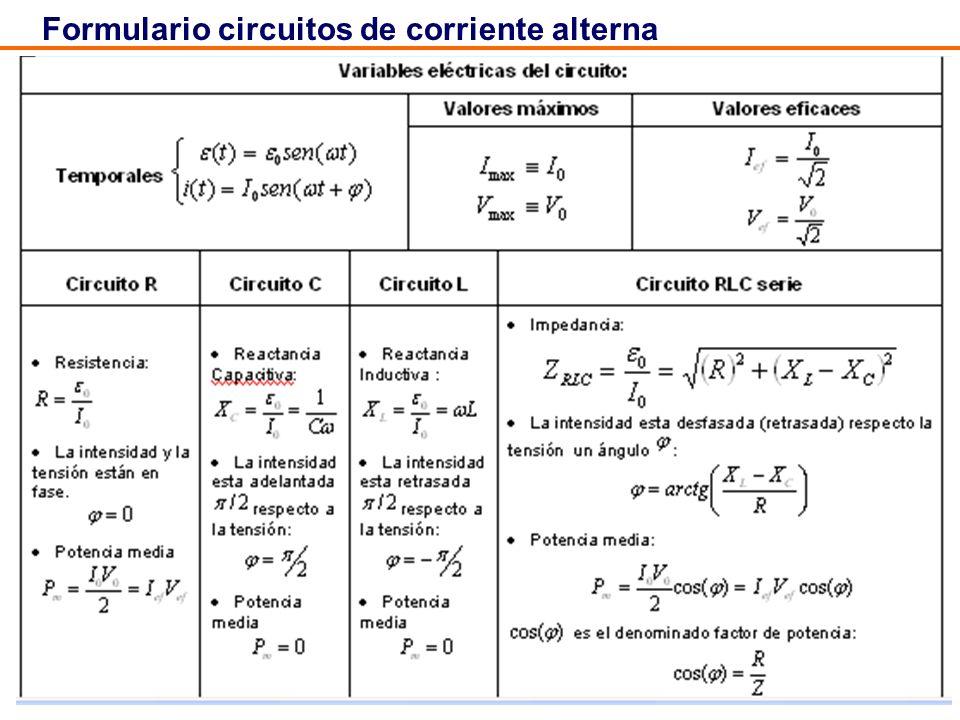 Formulario circuitos de corriente alterna