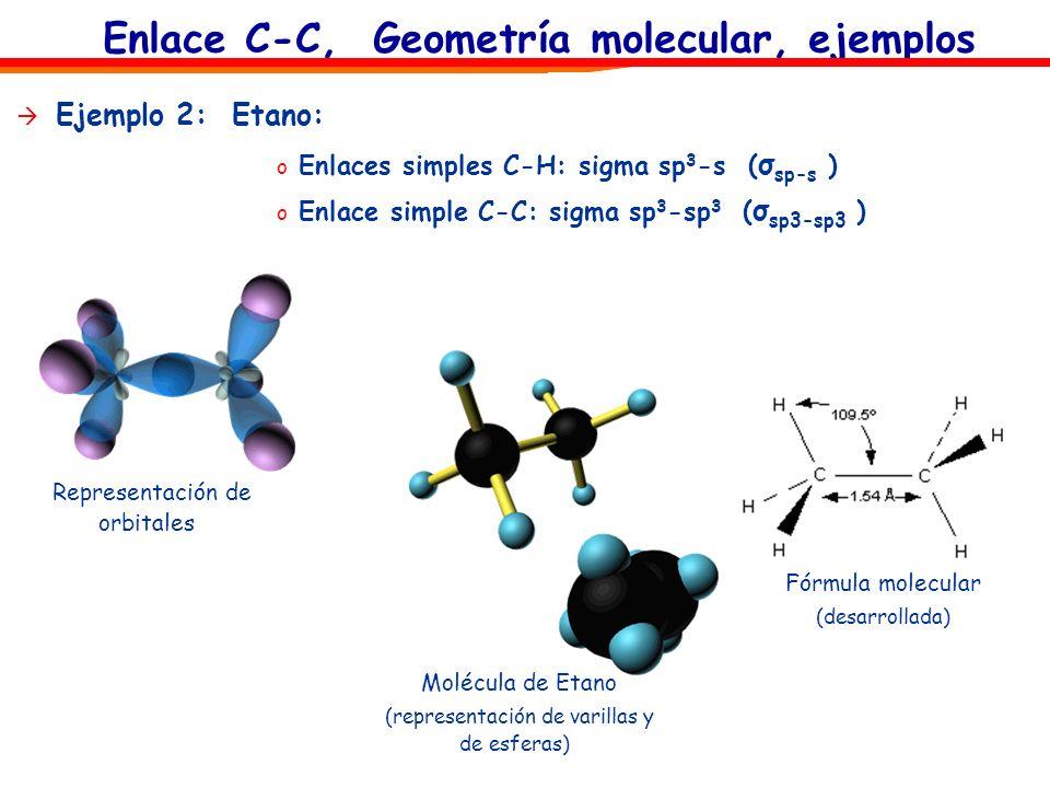 Enlace C-C, Geometría molecular, ejemplos