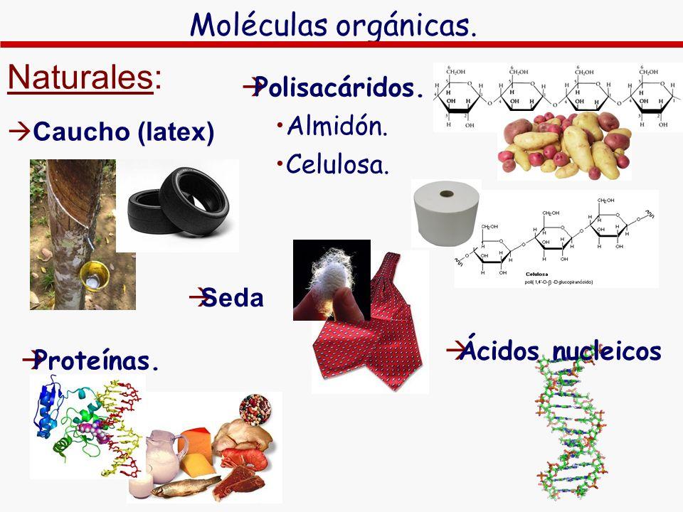 Naturales: Moléculas orgánicas. Polisacáridos. Caucho (latex) Almidón.