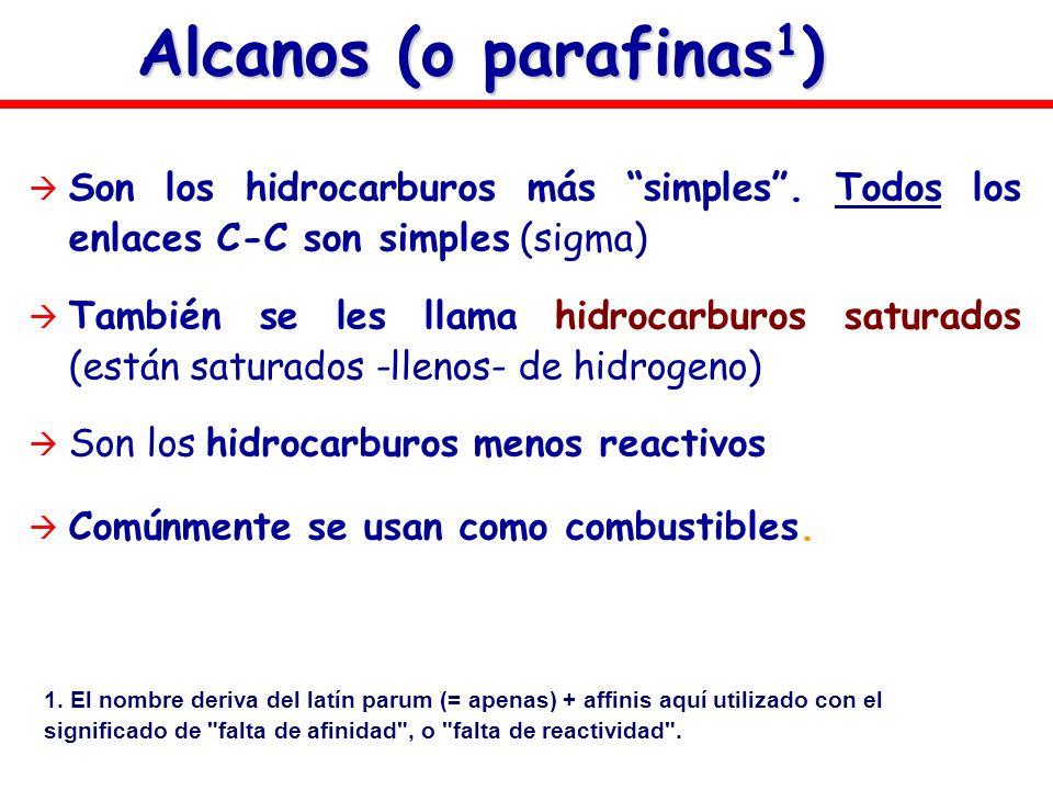 Alcanos (o parafinas1) Son los hidrocarburos más simples . Todos los enlaces C-C son simples (sigma)