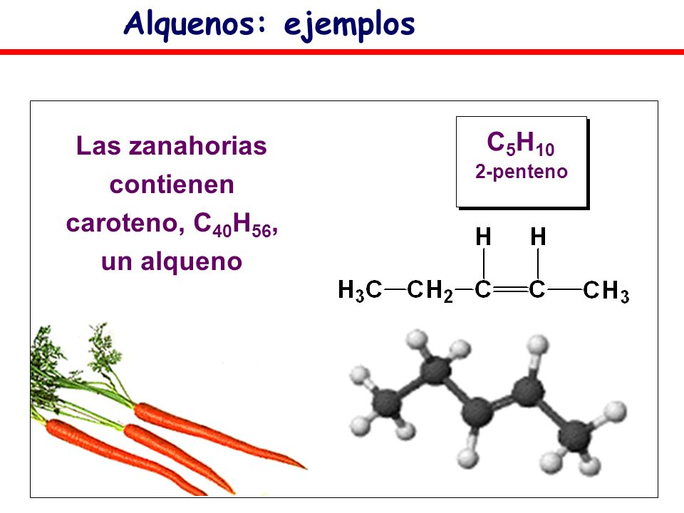 Las zanahorias contienen caroteno, C40H56,