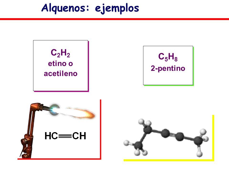 Alquenos: ejemplos C2H2 etino o acetileno C5H8 2-pentino