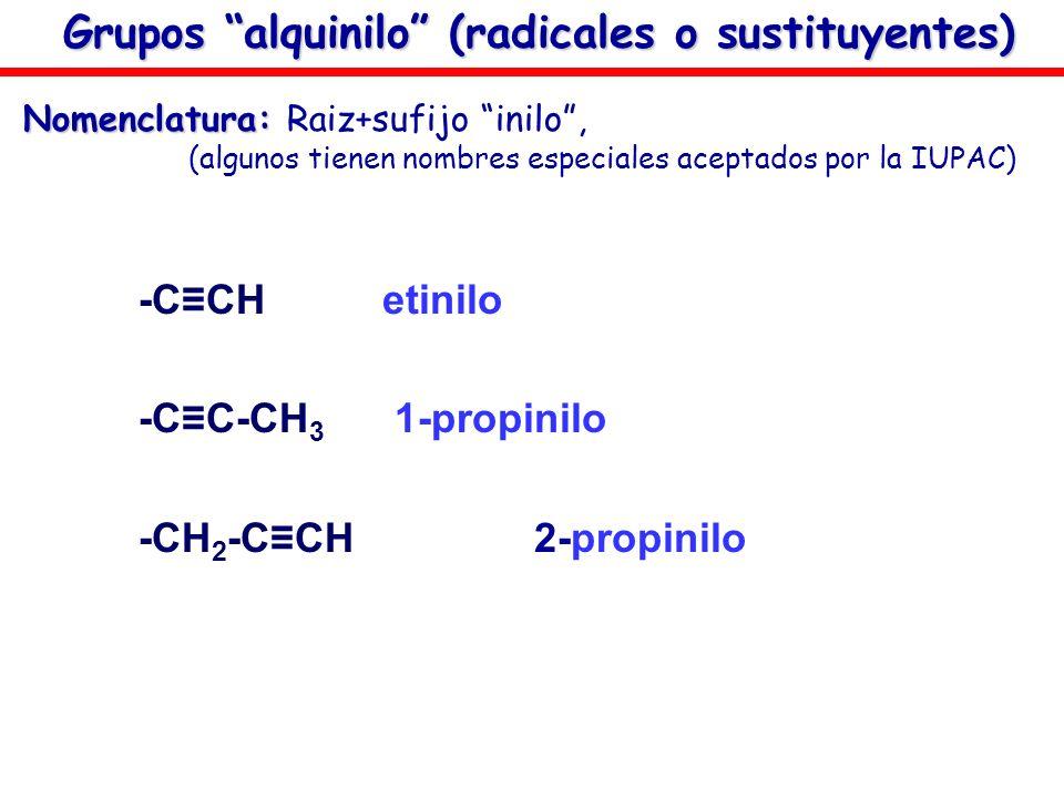 Grupos alquinilo (radicales o sustituyentes)