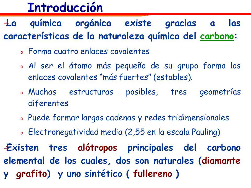 Introducción La química orgánica existe gracias a las características de la naturaleza química del carbono: