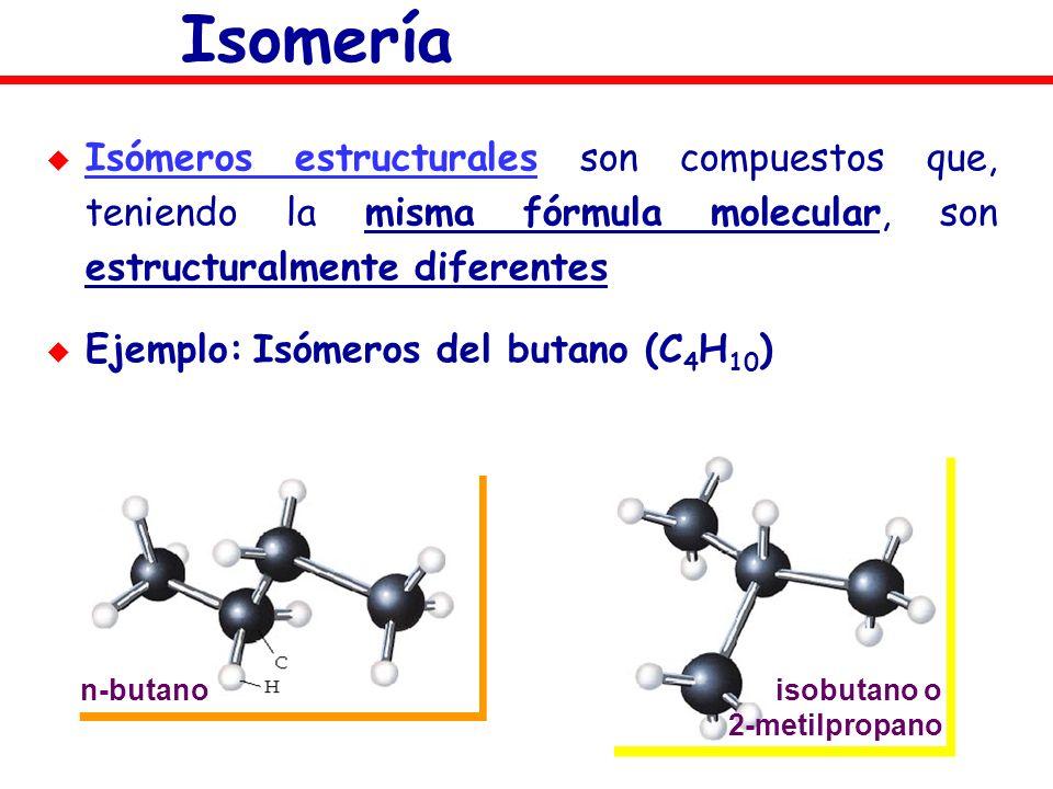 Isomería Isómeros estructurales son compuestos que, teniendo la misma fórmula molecular, son estructuralmente diferentes.