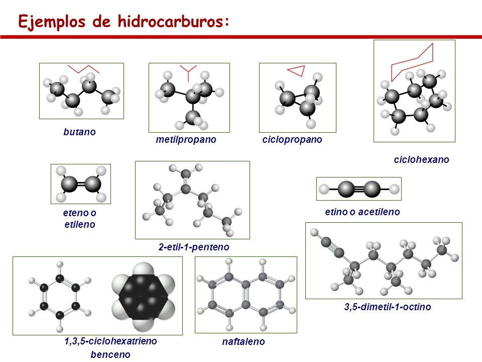 Ejemplos de hidrocarburos: