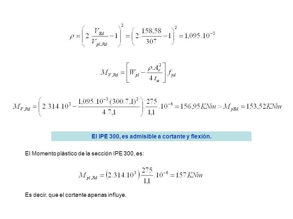 El IPE 300, es admisible a cortante y flexión.