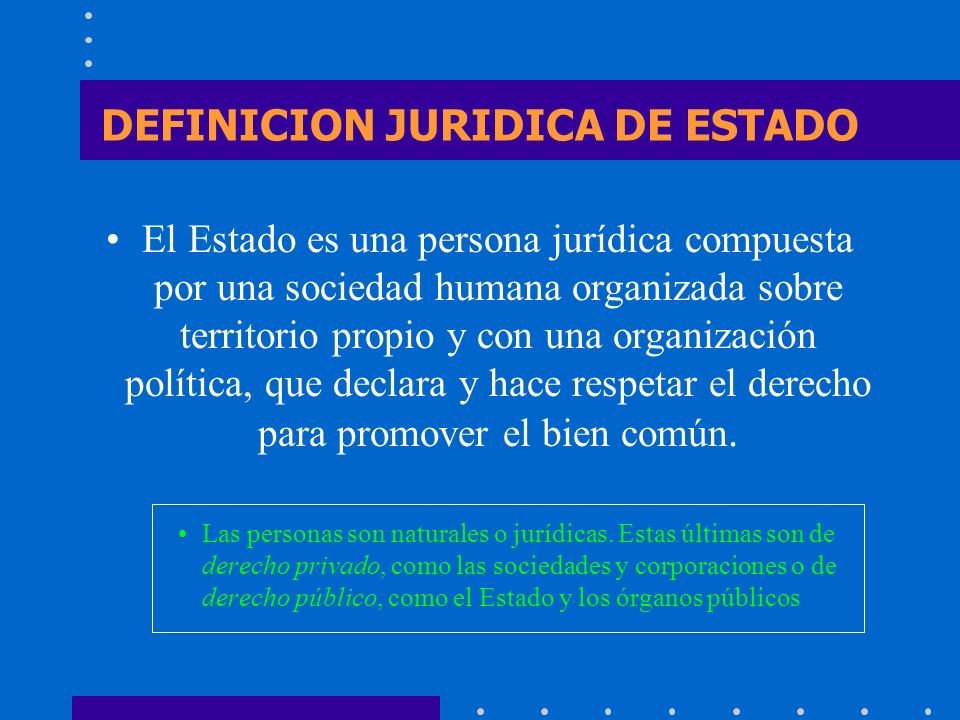 DEFINICION JURIDICA DE ESTADO