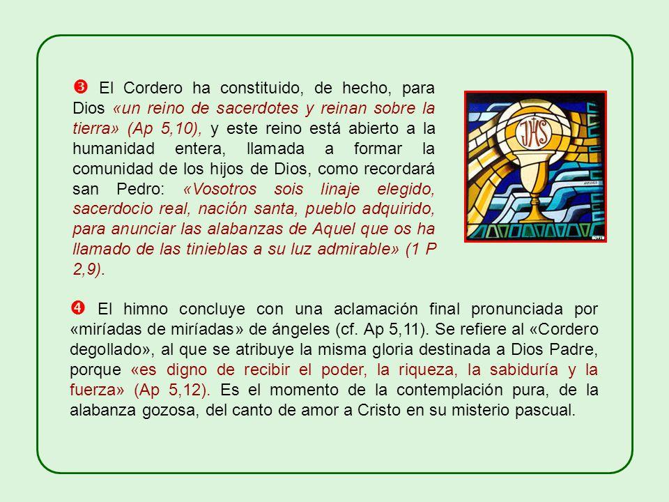  El Cordero ha constituido, de hecho, para Dios «un reino de sacerdotes y reinan sobre la tierra» (Ap 5,10), y este reino está abierto a la humanidad entera, llamada a formar la comunidad de los hijos de Dios, como recordará san Pedro: «Vosotros sois linaje elegido, sacerdocio real, nación santa, pueblo adquirido, para anunciar las alabanzas de Aquel que os ha llamado de las tinieblas a su luz admirable» (1 P 2,9).