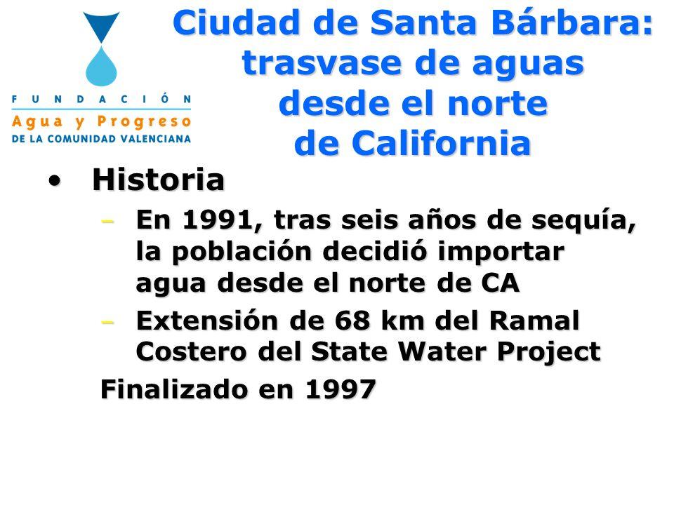 Ciudad de Santa Bárbara: trasvase de aguas desde el norte de California