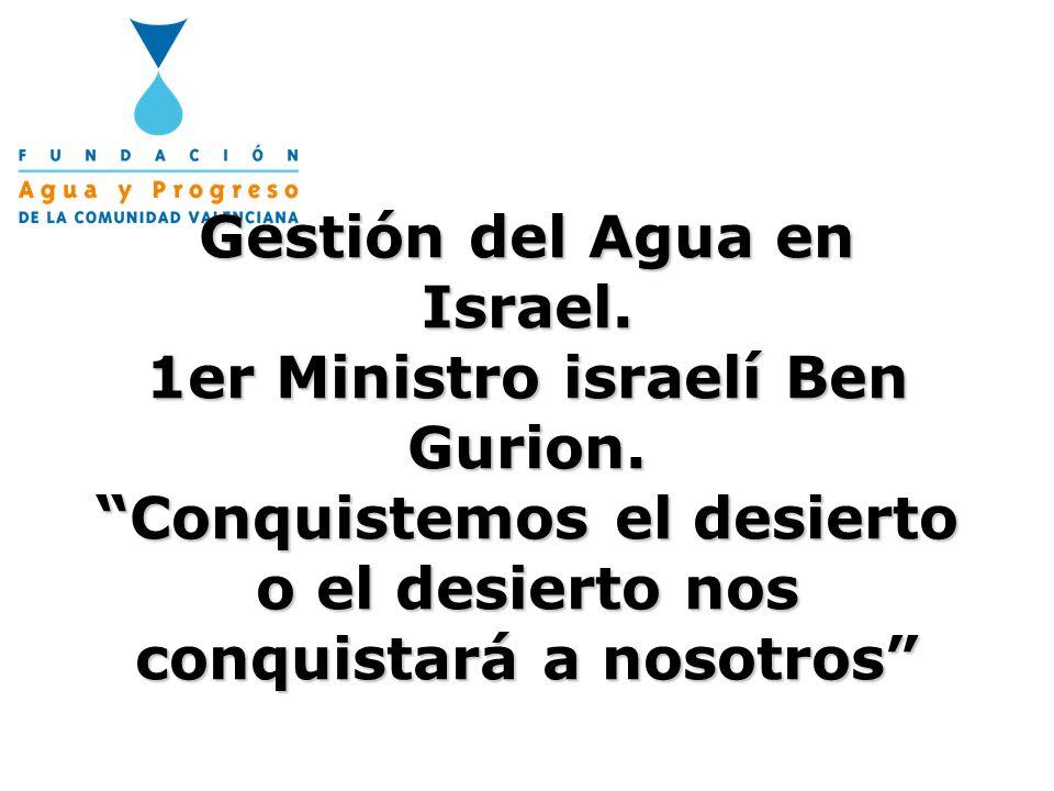 Gestión del Agua en Israel. 1er Ministro israelí Ben Gurion