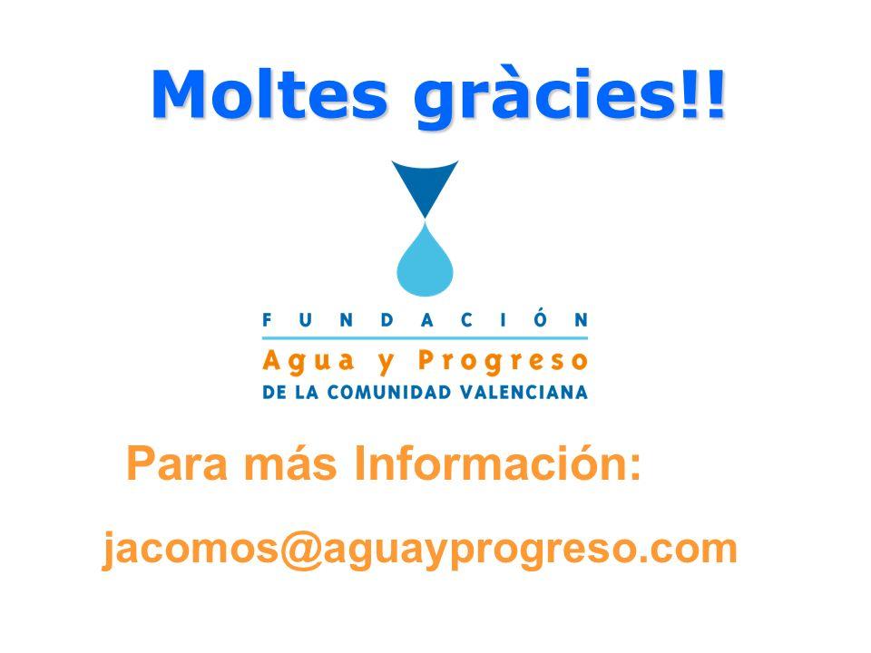Moltes gràcies!! Para más Información: jacomos@aguayprogreso.com