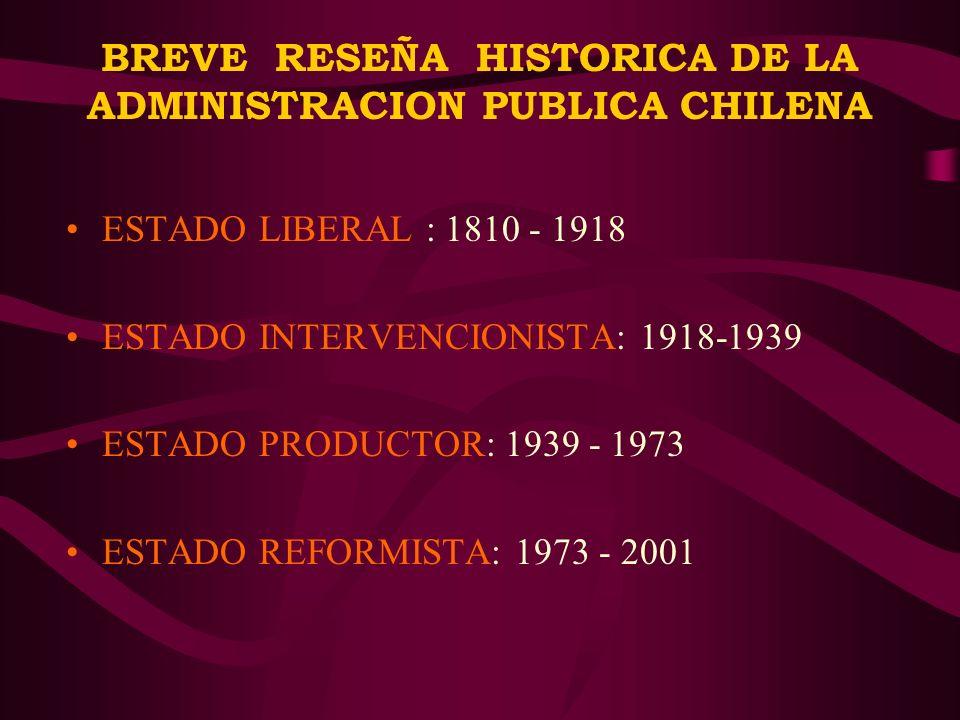 BREVE RESEÑA HISTORICA DE LA ADMINISTRACION PUBLICA CHILENA
