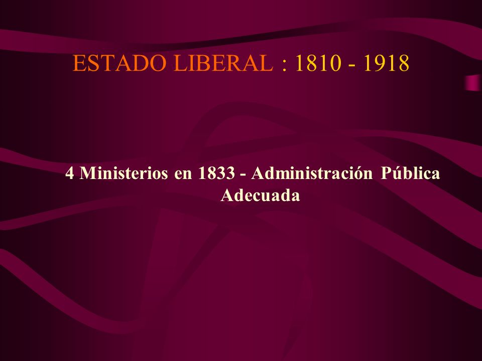 4 Ministerios en 1833 - Administración Pública Adecuada