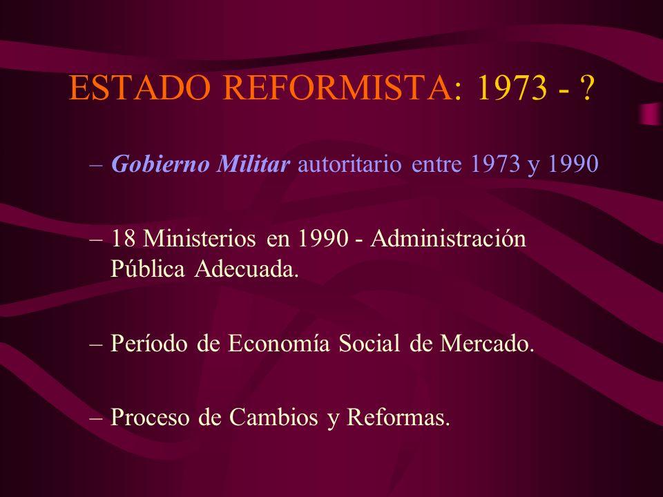 ESTADO REFORMISTA: 1973 - Gobierno Militar autoritario entre 1973 y 1990. 18 Ministerios en 1990 - Administración Pública Adecuada.