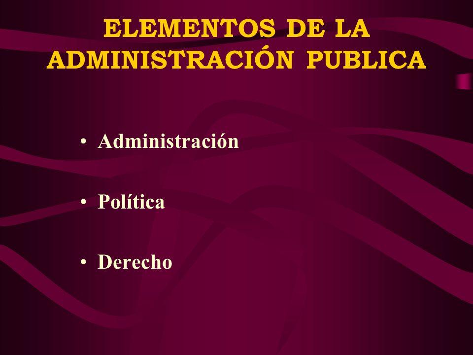 ELEMENTOS DE LA ADMINISTRACIÓN PUBLICA
