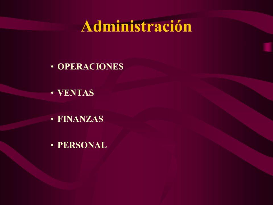 Administración OPERACIONES VENTAS FINANZAS PERSONAL