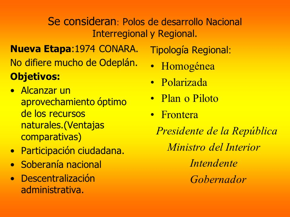 Se consideran: Polos de desarrollo Nacional Interregional y Regional.