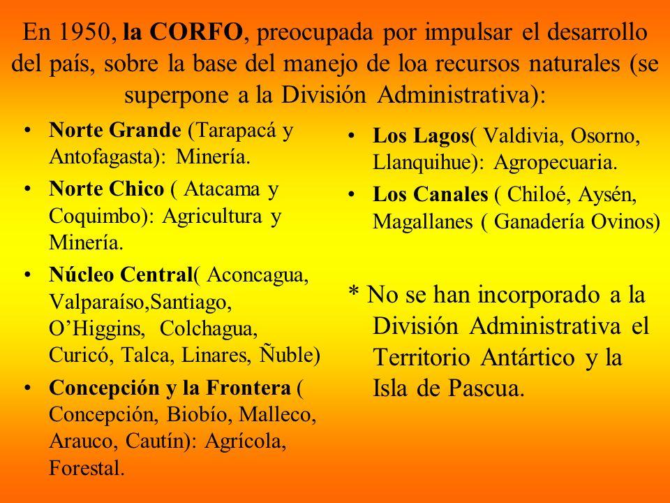 En 1950, la CORFO, preocupada por impulsar el desarrollo del país, sobre la base del manejo de loa recursos naturales (se superpone a la División Administrativa):