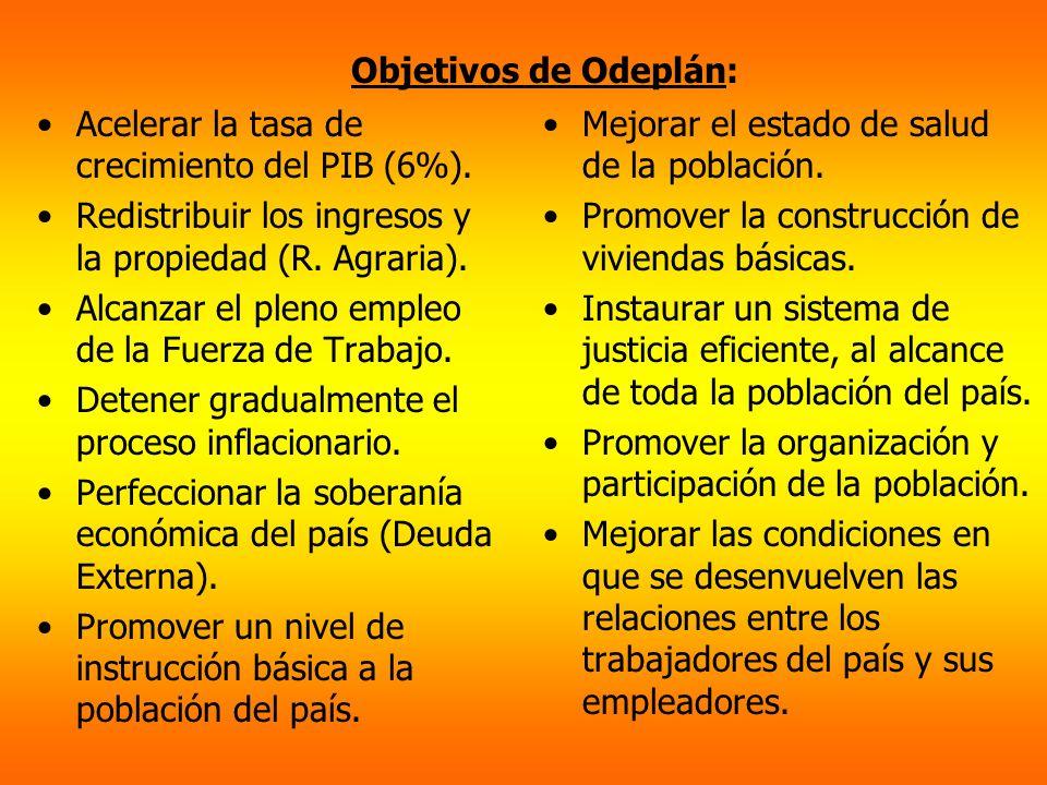 Objetivos de Odeplán: Acelerar la tasa de crecimiento del PIB (6%). Redistribuir los ingresos y la propiedad (R. Agraria).