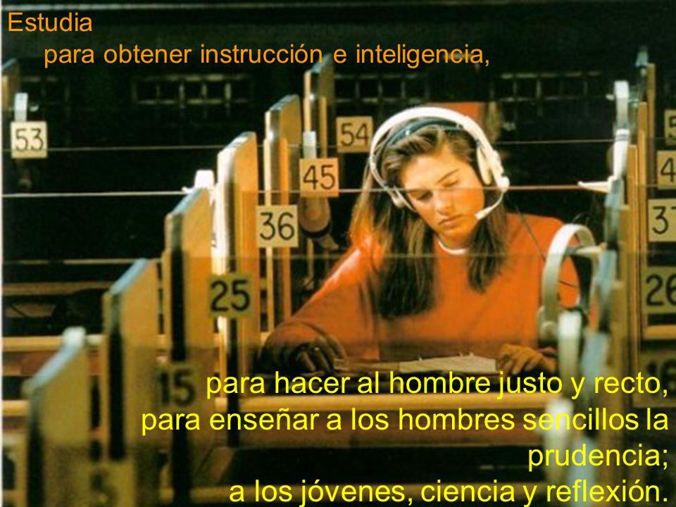 Estudia para obtener instrucción e inteligencia,