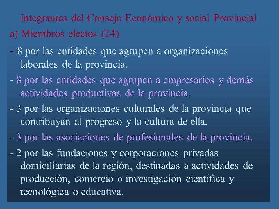 Integrantes del Consejo Económico y social Provincial