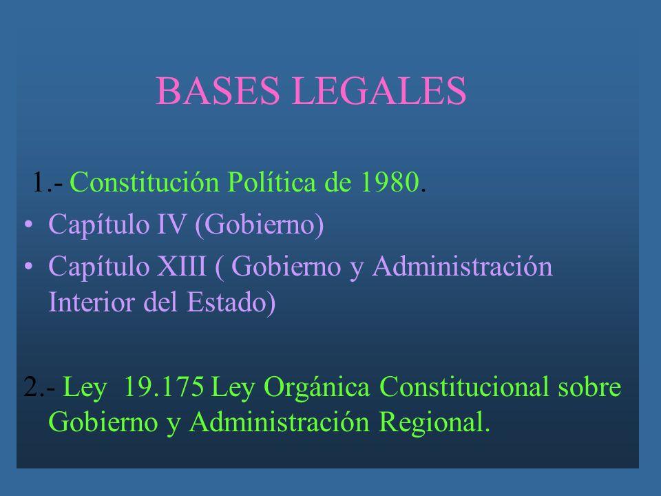 BASES LEGALES 1.- Constitución Política de 1980. Capítulo IV (Gobierno) Capítulo XIII ( Gobierno y Administración Interior del Estado)