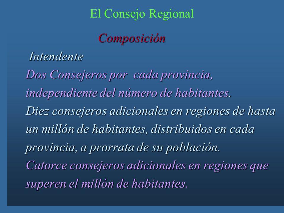 El Consejo Regional Composición. Intendente. Dos Consejeros por cada provincia, independiente del número de habitantes.