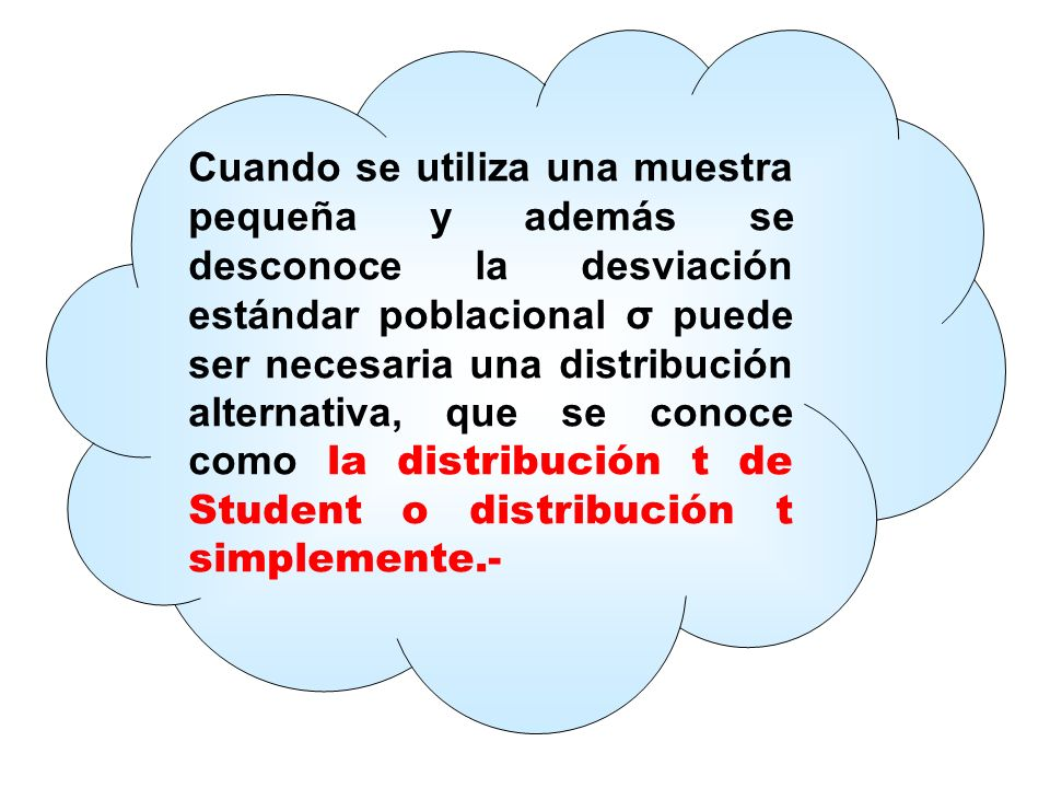 Cuando se utiliza una muestra pequeña y además se desconoce la desviación estándar poblacional σ puede ser necesaria una distribución alternativa, que se conoce como la distribución t de Student o distribución t simplemente.-