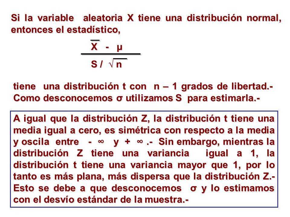 Si la variable aleatoria X tiene una distribución normal, entonces el estadístico,