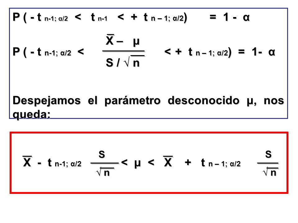 P ( - t n-1; α/2 < t n-1 < + t n – 1; α/2) = 1 - α