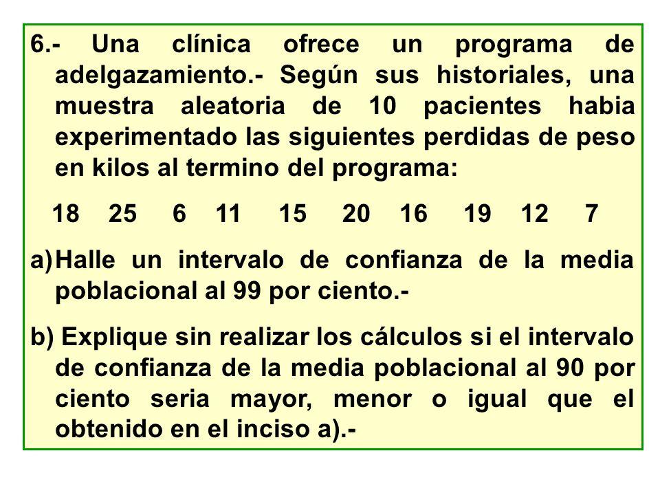 6. - Una clínica ofrece un programa de adelgazamiento