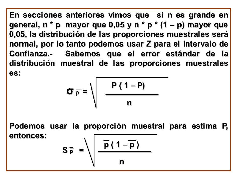 Podemos usar la proporción muestral para estima P, entonces: