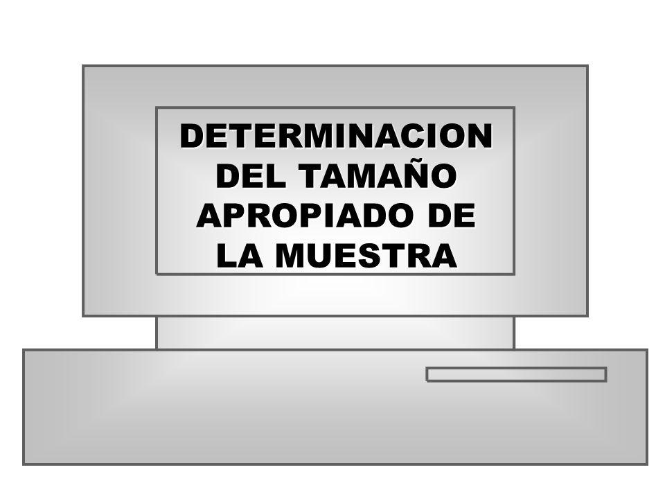 DETERMINACION DEL TAMAÑO APROPIADO DE LA MUESTRA