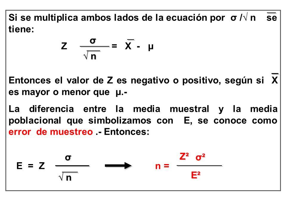 Si se multiplica ambos lados de la ecuación por σ /√ n se tiene: