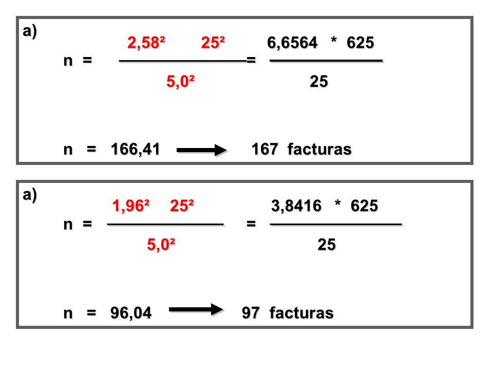 a) n = = n = 166,41 167 facturas. 2,58².