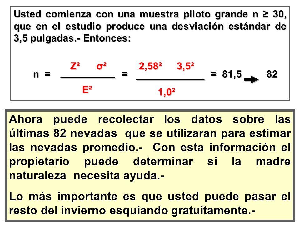 Usted comienza con una muestra piloto grande n ≥ 30, que en el estudio produce una desviación estándar de 3,5 pulgadas.- Entonces: