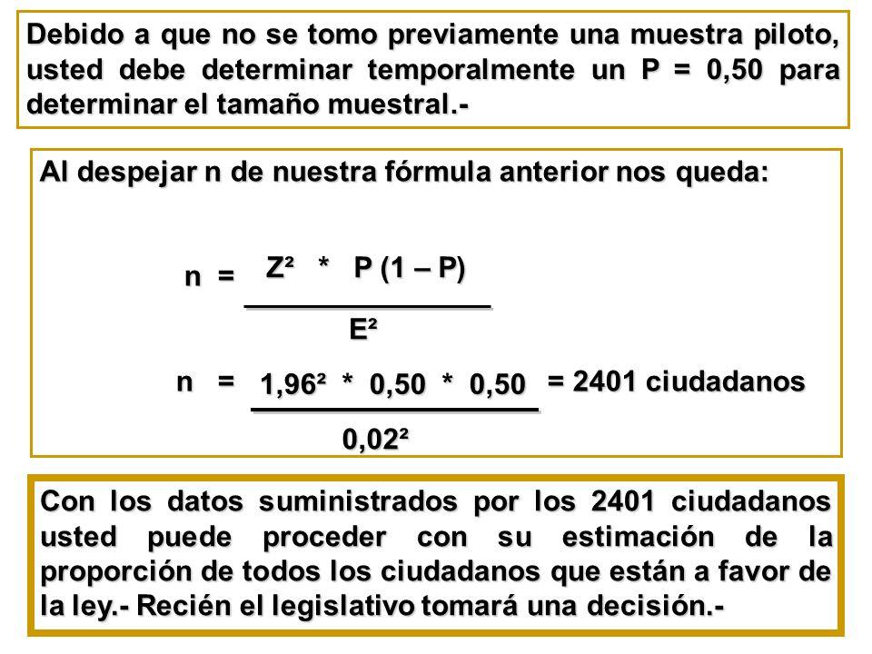 Debido a que no se tomo previamente una muestra piloto, usted debe determinar temporalmente un P = 0,50 para determinar el tamaño muestral.-