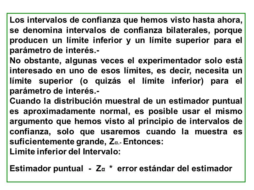 Los intervalos de confianza que hemos visto hasta ahora, se denomina intervalos de confianza bilaterales, porque producen un límite inferior y un límite superior para el parámetro de interés.-