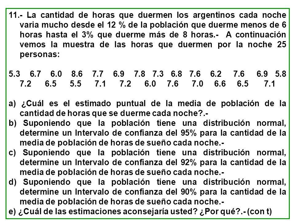 11.- La cantidad de horas que duermen los argentinos cada noche varia mucho desde el 12 % de la población que duerme menos de 6 horas hasta el 3% que duerme más de 8 horas.- A continuación vemos la muestra de las horas que duermen por la noche 25 personas: