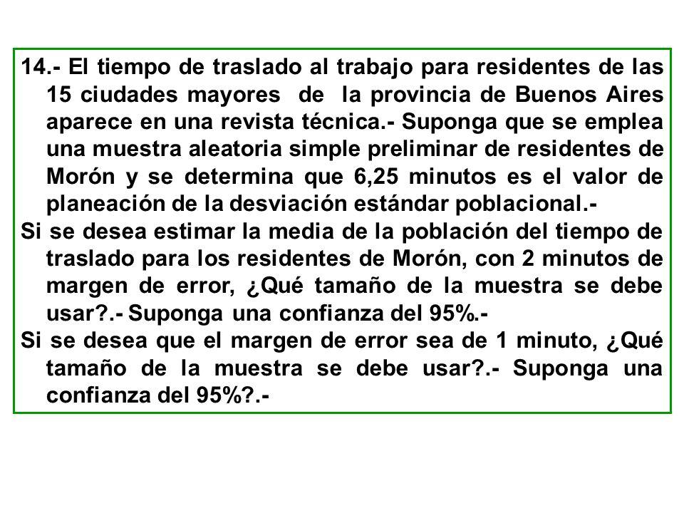 14.- El tiempo de traslado al trabajo para residentes de las 15 ciudades mayores de la provincia de Buenos Aires aparece en una revista técnica.- Suponga que se emplea una muestra aleatoria simple preliminar de residentes de Morón y se determina que 6,25 minutos es el valor de planeación de la desviación estándar poblacional.-